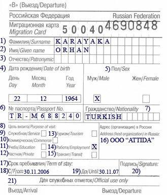 Migrasyon Kartı